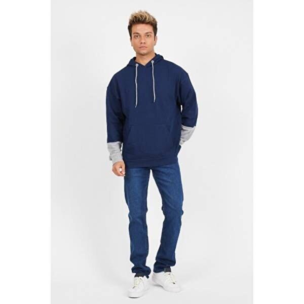 Twenty3 Erkek 2 İplik Oversize Comfort Kesim Kapşonu ve Kol Ucu Parçalı Sweat Shirt