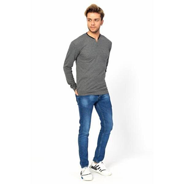 Twenty3 Erkek Yaka Detaylı Basic Uzun Kol Sweat Shirt