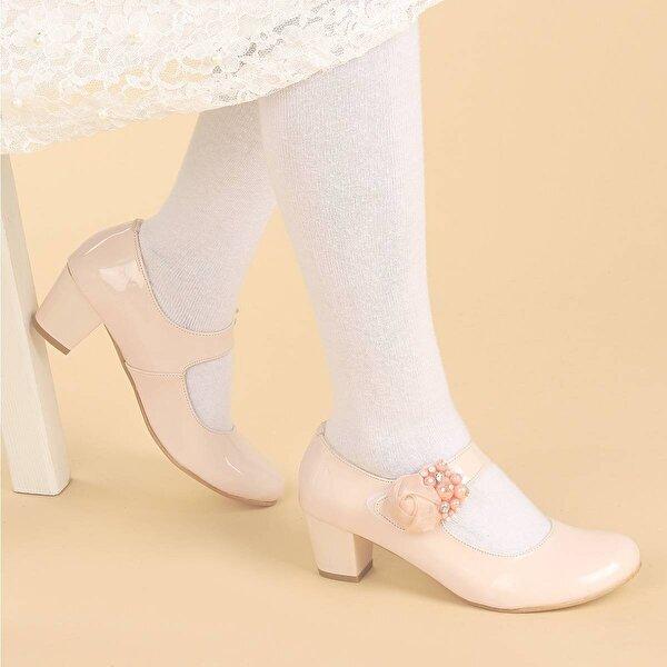 Kiko Kids Kiko 751 Rugan Günlük Kız Çocuk 4 Cm Topuk Babet Ayakkabı Pudra