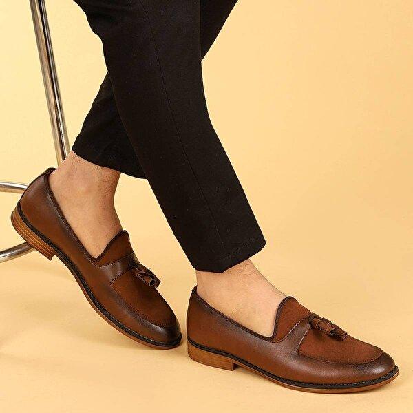 Ayakland 2000 Cilt Günlük Fiyonklu Erkek Klasik Ayakkabı TABA