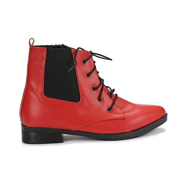 Ayakland 387-01 Cilt Bağcıklı Termo Taban Bayan Bot Ayakkabı KIRMIZI