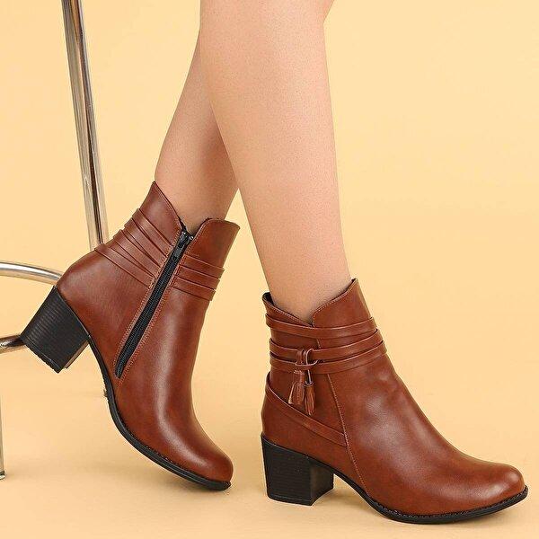 Ayakland 8423-832 Cilt 6 Cm Topuk Termo Taban Bayan Bot Ayakkabı TABA