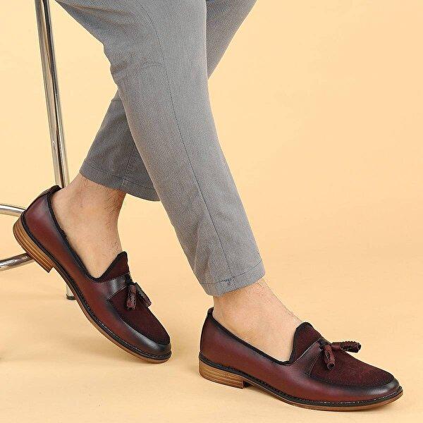 Ayakland 2000 Cilt Günlük Fiyonklu Erkek Klasik Ayakkabı BORDO