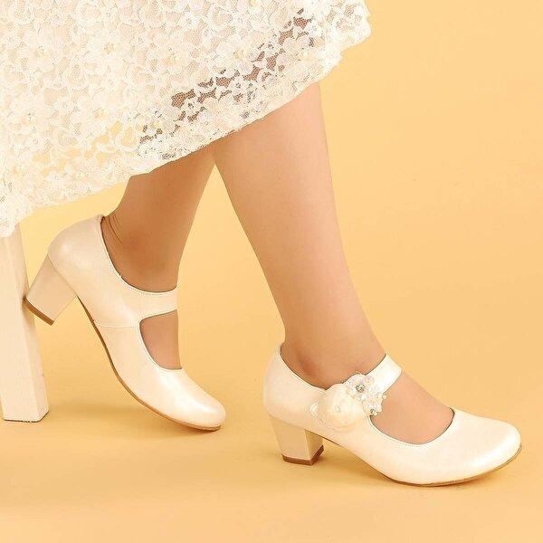 Kiko Kids Kiko 751 Cilt Günlük Kız Çocuk 4 Cm Topuk Babet Ayakkabı Sedef