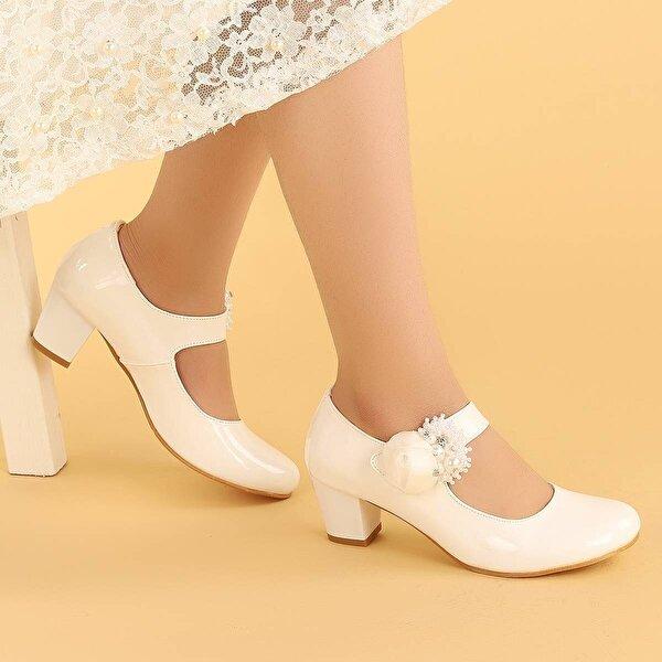 Kiko Kids Kiko 751 Rugan Günlük Kız Çocuk 4 Cm Topuk Babet Ayakkabı BEYAZ