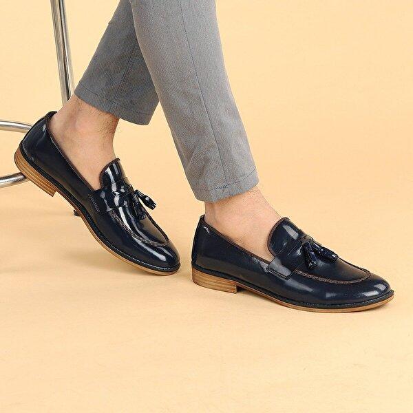 Ayakland 1300 Rugan Günlük Fiyonklu Erkek Klasik Ayakkabı LACİVERT