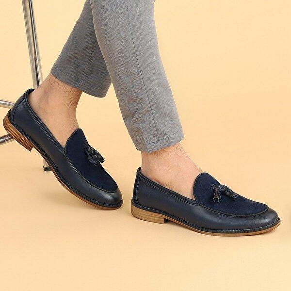 AYAKLAND 1500 Cilt Günlük Fiyonklu Erkek Klasik Ayakkabı LACİVERT