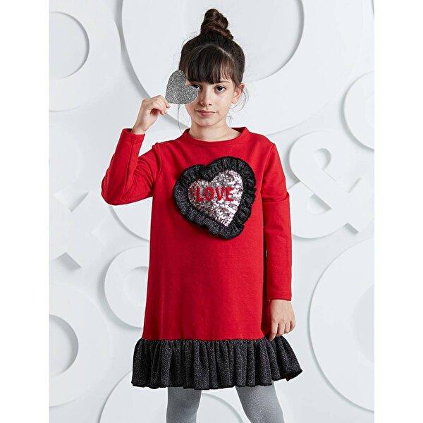 Mushi Kalp Fırfırlı Kız Elbise