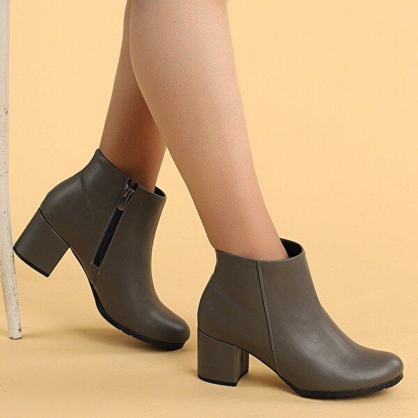 AYAKLAND 520 Cilt 6 Cm Topuk Termo Taban Bayan Bot Ayakkabı GRI