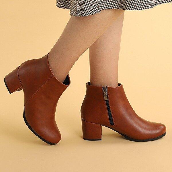 Ayakland 520 Cilt 6 Cm Topuk Termo Taban Bayan Bot Ayakkabı TABA