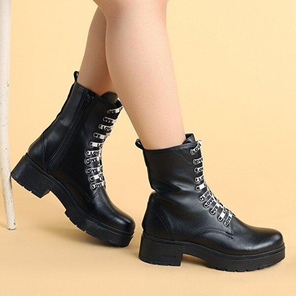 Ayakland 2463-2115 Cilt Fermuarlı Termo Kadın Bot Ayakkabı SİYAH