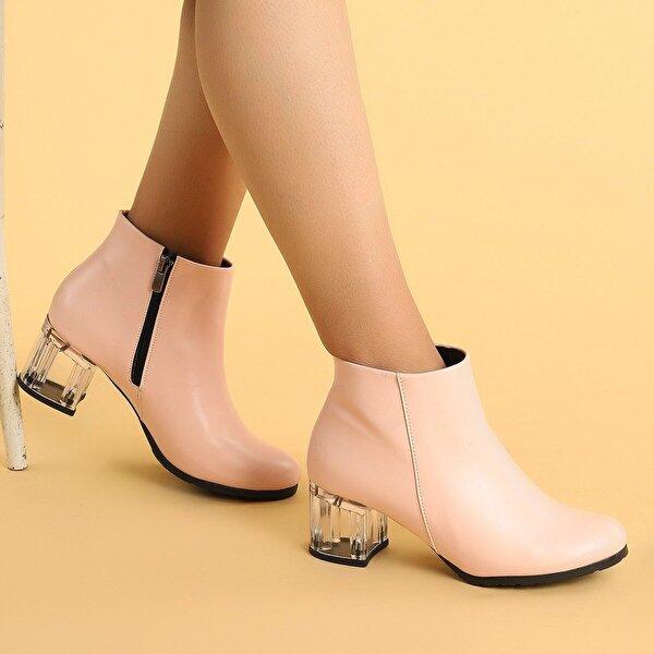 AYAKLAND 520 Şeffaf Cilt 6 Cm Topuk Termo Taban Bayan Bot Ayakkabı Pudra