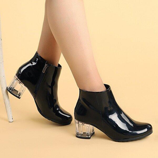 Ayakland 520 Şeffaf Rugan 6 Cm Topuk Termo Taban Bayan Bot Ayakkabı SİYAH