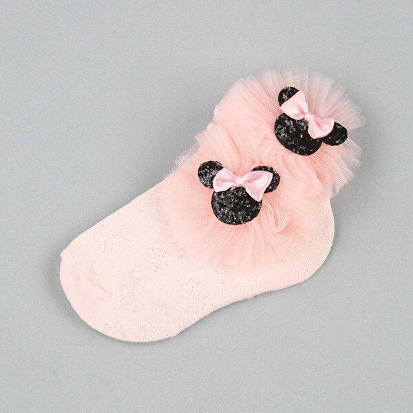 Modakids Pembe Fiyonklu Tüllü Kız Çocuk Çorap