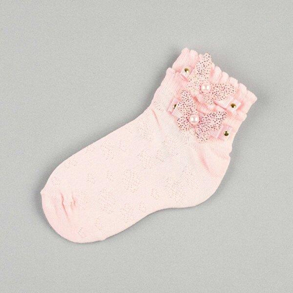 Modakids Pembe Fiyonklu Kelebekli Boncuklu Kız Çocuk Çorap