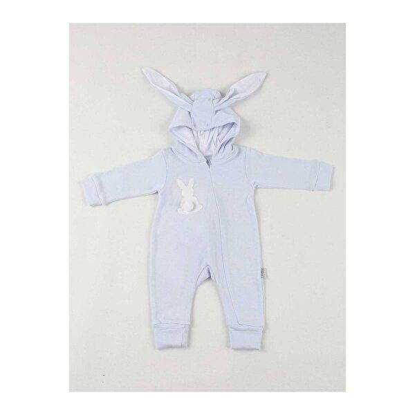 Modakids Mavi Tavşan Kulaklı Ponponlu Bebek Tulum