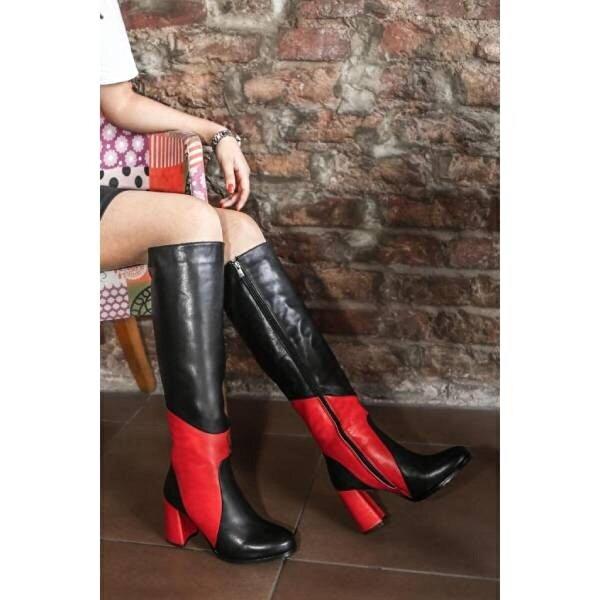 Fast Step Hakiki Deri Kürklü Kadın Klasik Çizme 824YZA20339
