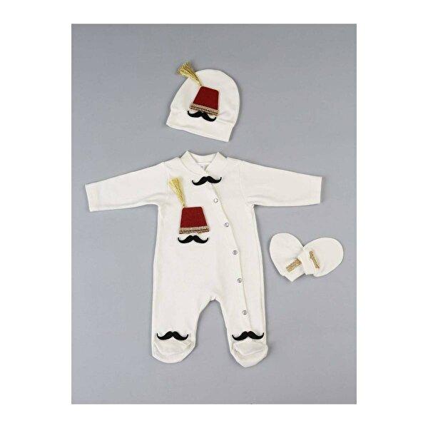 Modakids Beyaz Fesli  Erkek Bebek 3 lü Tulum seti