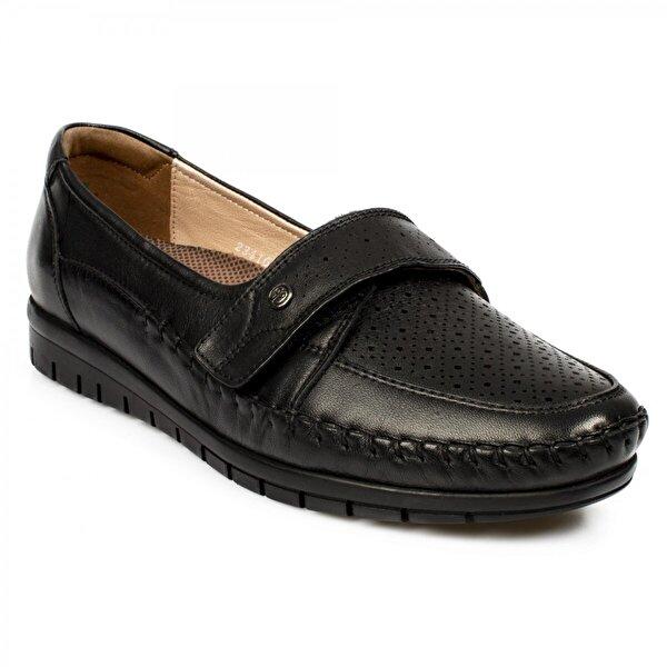 Forelli 23416 Z Hakiki Deri Comfort Siyah Kadın Ayakkabı