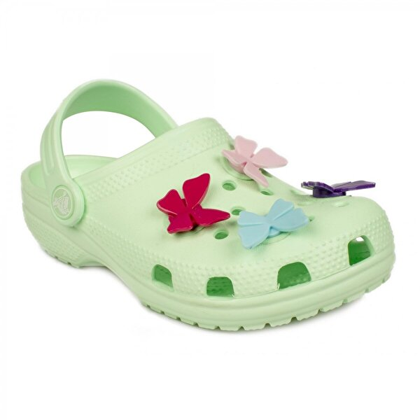 Crocs 206179 Classic Butterfly Charm Clg Ps Yeşil Çocuk Terlik