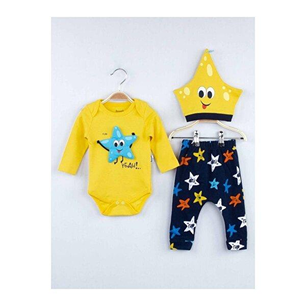 Miniworld Sarı Mevsimlik Erkek Bebek Badili 3 lü Takım
