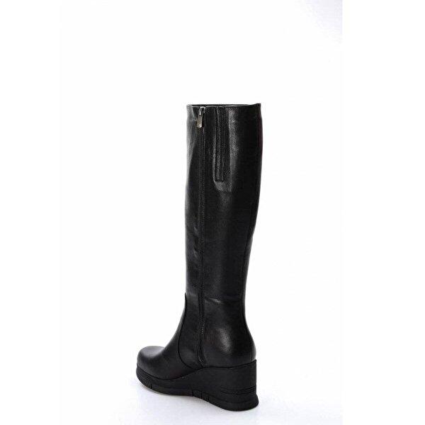 Fast Step Hakiki Deri Kürklü Kadın Dolgu Topuk Çizme 064KZA1006