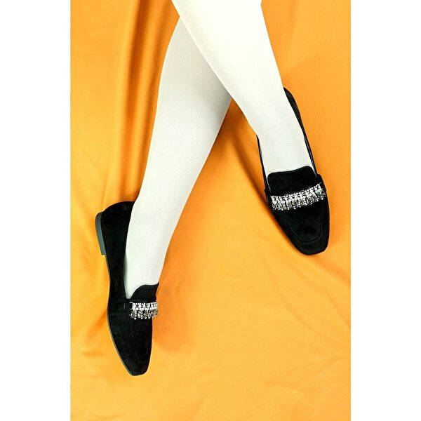 Hayati Arman Kadın Taş Detaylı Siyah Babet & Loafer