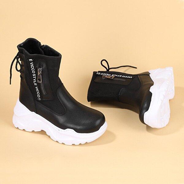 VICCO 941.F20K.304 Sigma Fermuarlı Kız Çocuk Bot Ayakkabı SİYAH
