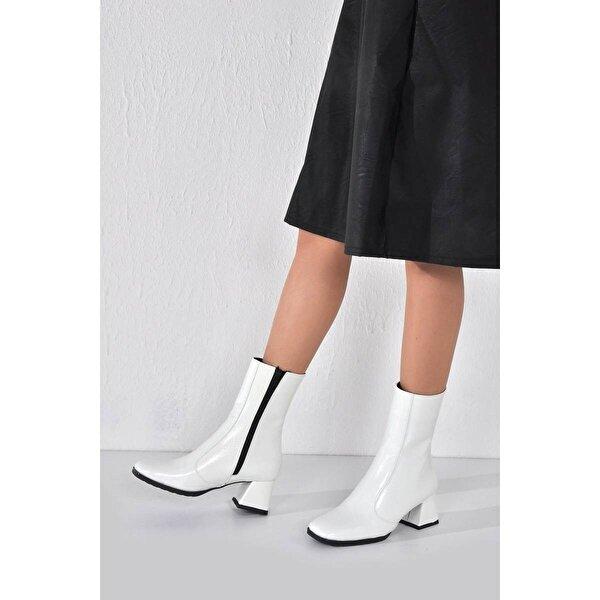 Vizon Ayakkabı Kadın  Beyaz Rugan Bot VZN20-008K