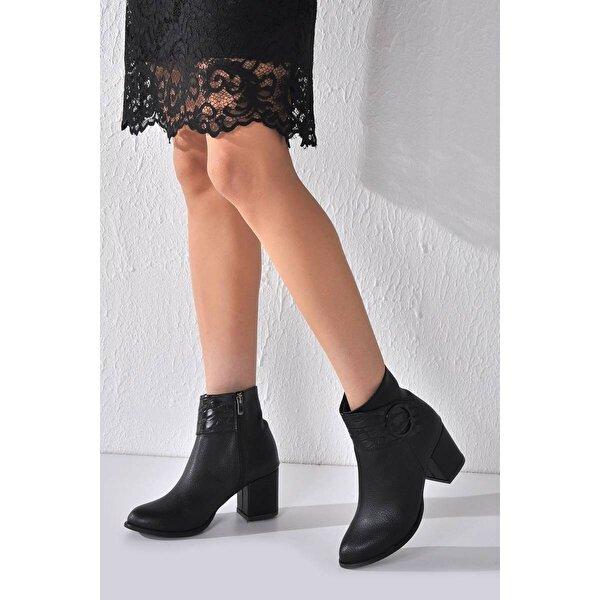 Vizon Ayakkabı Kadın  Siyah Baskı Bot VZN20-017K