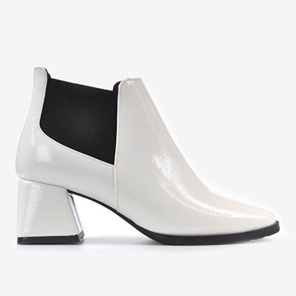 Vizon Ayakkabı Kadın  Beyaz Rugan Bot VZN20-002K