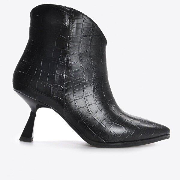 Vizon Ayakkabı Kadın  Siyah Kroko Bot VZN20-025K