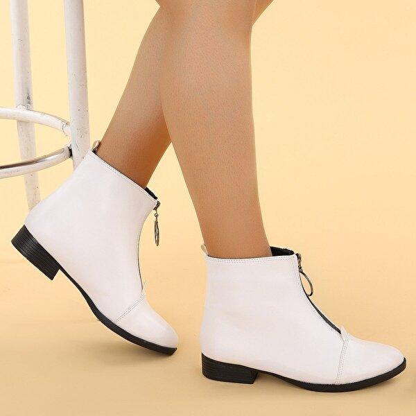 Ayakland 8284-2003 Cilt Fermuarlı Bayan Bot Ayakkabı BEYAZ