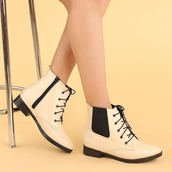 AYAKLAND 387-01 Cilt Bağcıklı Termo Taban Bayan Bot Ayakkabı TEN