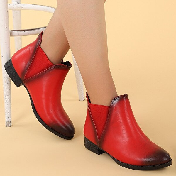 Ayakland 8284-2112 Cilt Termo Kadın Bot Ayakkabı KIRMIZI