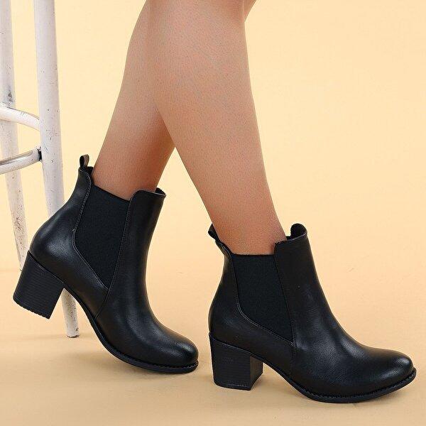 Ayakland 8422-836 Cilt 6 Cm Topuk Termo Kadın Bot Ayakkabı SİYAH