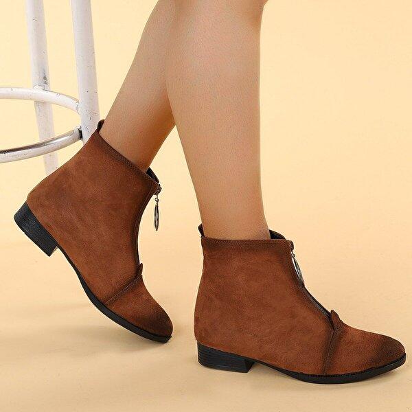 Ayakland 8284-2003 Süet Fermuarlı Kadın Bot Ayakkabı TABA
