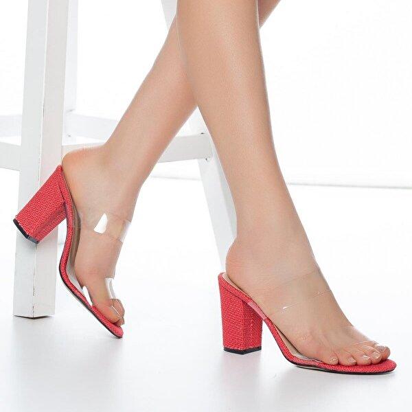 Muggo W703 Şeffaf Kadın Topuklu Ayakkabı