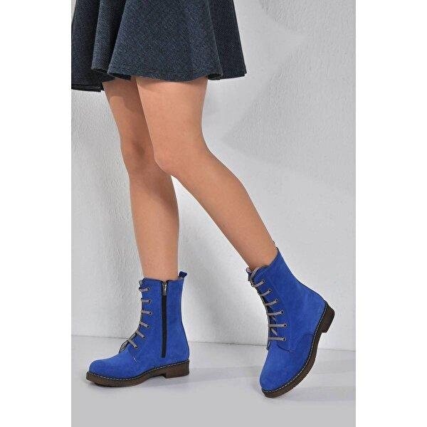 Vizon Ayakkabı Kadın  Mavi Nubuk Bot VZN20-036K