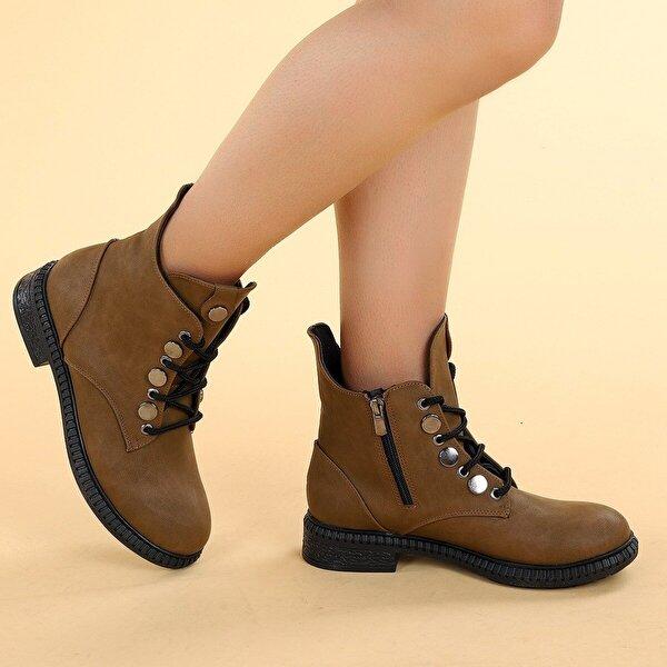 Ayakland N901-02 Cilt Termo Taban Kadın Bot Ayakkabı Vizon