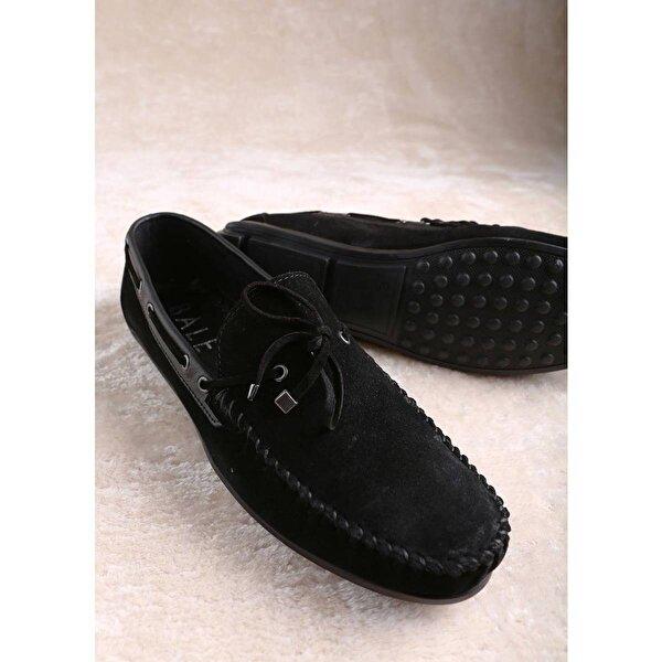 Valentieri Hakiki Süet Deri Erkek Loafer Ayakkabı - Siyah