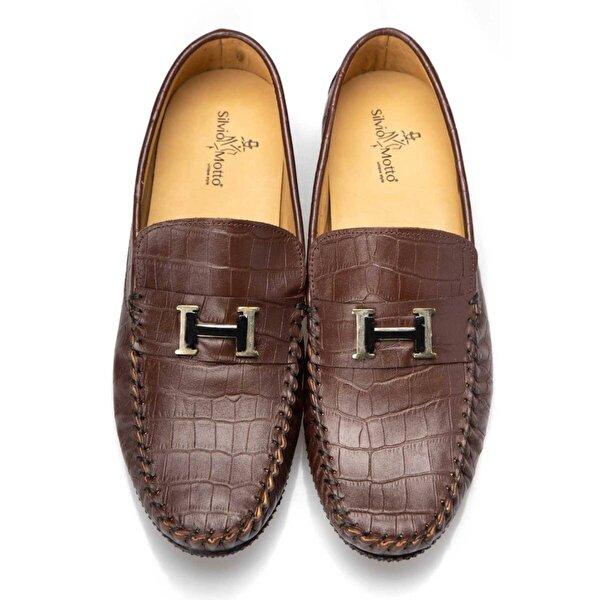 Silvio Motto Hakiki Deri Erkek Günlük Loafer Ayakkabı - Kahverengi