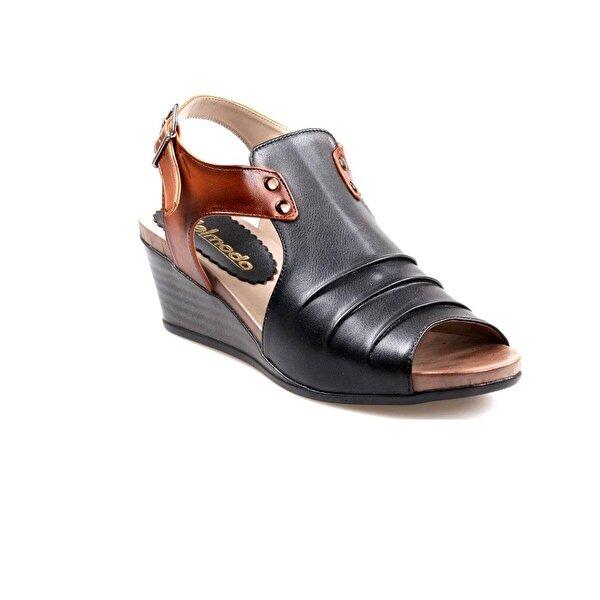 NELMODA Bayan Siyah-Kahve Dolgu Taban Sandalet