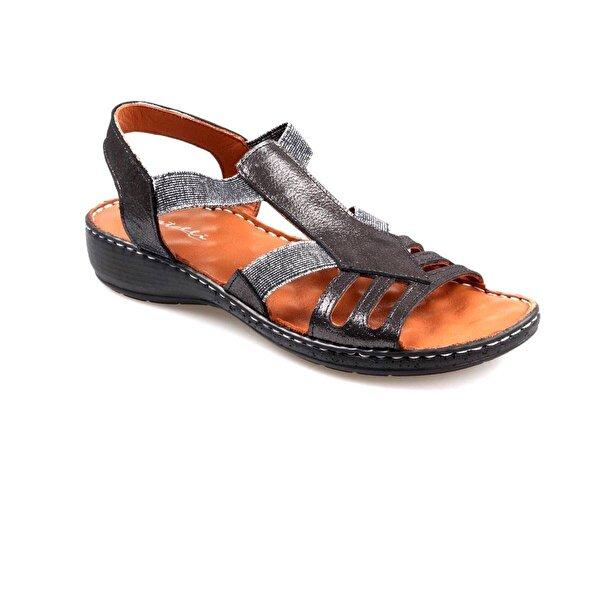 Catelli Bayan Ortapedik Siyah Hakiki Deri Sandalet