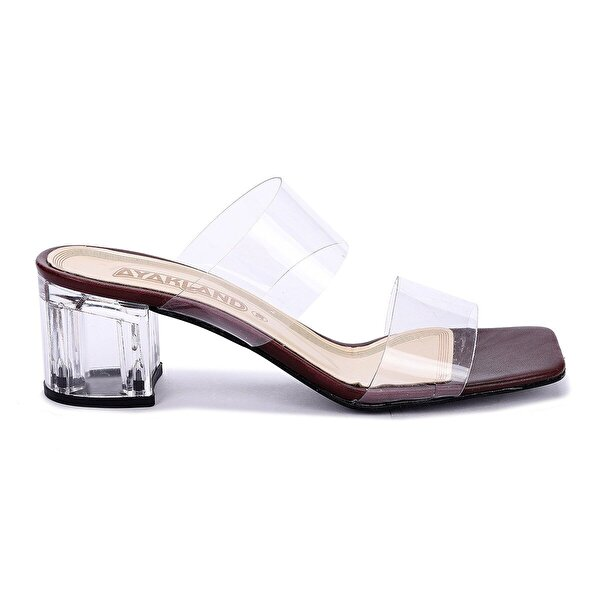 Ayakland 6470-06 Cilt Şeffaf 7 Cm Topuk Bayan Sandalet Ayakkabı BORDO