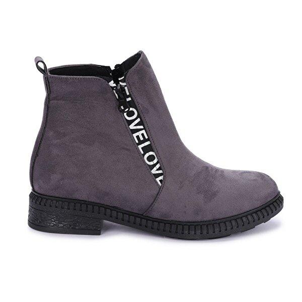 AYAKLAND N901-07 Süet Termo Taban Kadın Bot Ayakkabı GRI