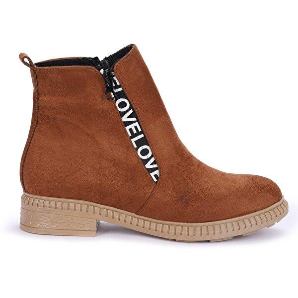 Ayakland N901-07 Süet Termo Taban Kadın Bot Ayakkabı TABA