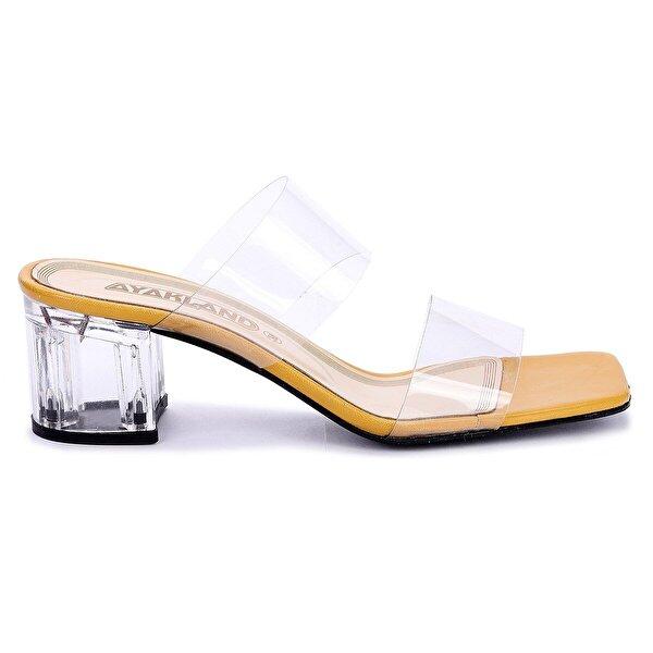 Ayakland 6470-06 Cilt Şeffaf 7 Cm Topuk Bayan Sandalet Ayakkabı Hardal