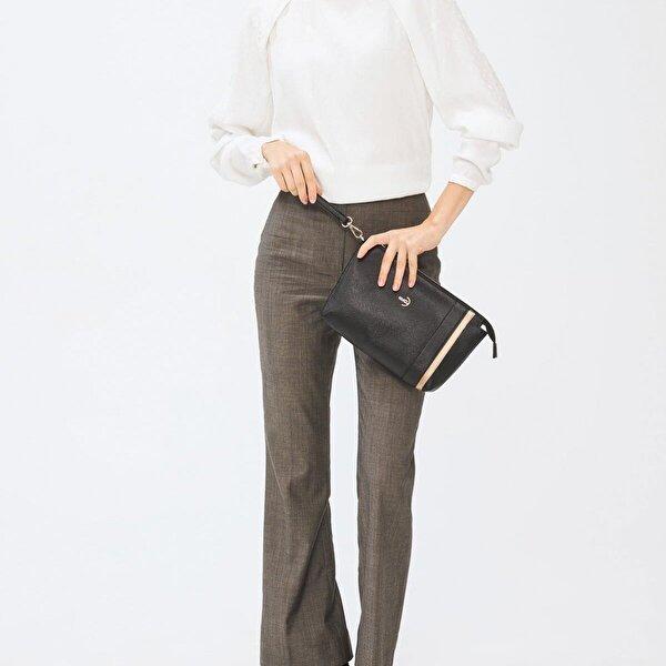 Deri Company Kadın Basic Clutch Çanta Düz Desenli Şeritli Logolu Altın Siyah (4006S-AL) 214012
