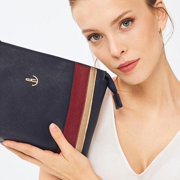 Deri Company Kadın Basic Clutch Çanta Düz Desenli Şeritli Logolu Lacivert Bordo(4006L-BA) 214012